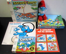 Vintage SMURF Game Lot - SMURF AHOY GAME - CARD GAME - PUZZLE - RECORD & MORE