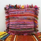 "16X16"" HANDMADE RUG RAG VINTAGE INDIAN PILLOW CHINDI PINK COTTON CUSHION COVER"