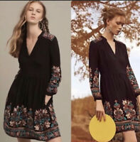 Anthropologie Floreat Avery Black Floral Embroidered Split Neck Boho Dress Sz XS