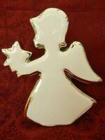 Figur Engel Porzellan weiß/gold -  Höhe 20 cm - Engel mit Stern in der Hand