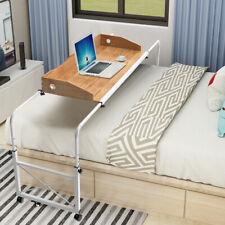 Adjustable Laptop Computer Desk Overbed Trolley Hospital Medical Table w/ Wheels