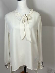 Oasis Cream Ivory Pussy Bow Tie Blouse Size 12 Diamanté Cuffs Long Sleeved