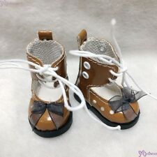 Mimiwoo Yo SD 1/6 bjd Doll Shoes Lace Hole Boots Brown(for Foot 4.5cm long)