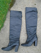 Miss Selfridge Real Leather Thigh Over Knee High Black Vintage Boots Size 6