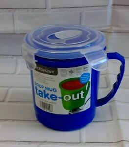 Travel soup mug take-out  with handle &  lid - microwavable / freezer safe BN