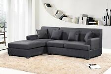 Large Black Couch Sectional Cloth Modern Contemporary Upholstered NEW