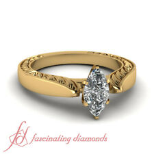 1 Carat Marquise Cut Yellow Gold Solitaire Vintage Diamond Rings GIA Certified