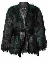 Balmain H&M Jacket Faux Fur Green & Black Coat US 8