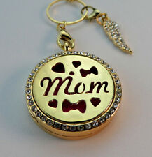 MOM Double Sided, Diffuser Necklace Locket Stainless Still 10ml Oil 11 Pads Gift