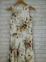 Cue Fit and flare dress Cream, green floral print Sz 12 Sleeveless