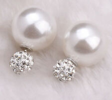 Women Fashion Rhinestone Crystal Beads Double Sided Earring Two Ball Ear Stud