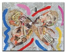 Butterfly Pop Art, Contemporary Art, Original Painting with Acrylic, Collage,