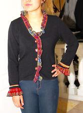 joli gilet noir en laine maille knit AZULEROS taille S TRÈS BON ÉTAT