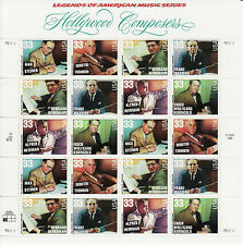 HOLLYWOOD COMPOSERS STAMP SHEET -- USA #3339-#3344 33 CENT 1999 MUSIC