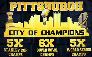 Pittsburgh Steelers Pirates Penguins City of Champions Flag 3x5 ft Banner Garage