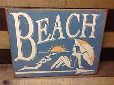 SCHONBERG BEACH Sign Tin Vintage Garage Bar Decor Old Rustic