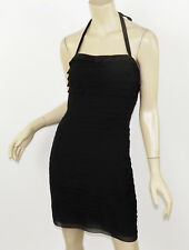 CATHERINE MALANDRINO Black Silk Chiffon Tiered Shutter Pleated Halter Dress S 6