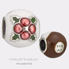 Authentic Pandora Silver Christmas Pudding White & Brown Enamel Bead 791412ENMX
