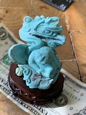 """Vintage Chinese Turquoise Carving - Boy in Peanut Shell 3""""w Stand"""