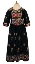 Vintage Indian Embroidered Women Afgani Dress Tunic Banjara Shisheh Mirror Work