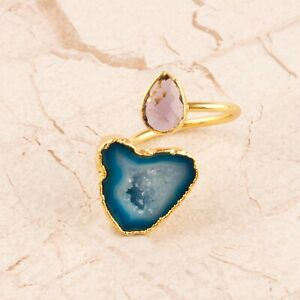 Sky Blue Geode Druzy Amethyst Quartz Yellow Gold Plated Adjustable Ring Jewelry