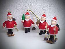 4er Set Baumschmuck Weihnachtsmann mit Faden zum hängen 7 cm farbig Holz 70309