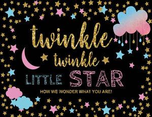 Birthday Twinkle Star Blue Pink Cloud 10x8ft Vinyl Studio Background Backdrop LB