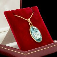 "Antique Vintage Art Deco Gold Filled GF Floral Porcelain Enamel 18.5"" L Necklace"