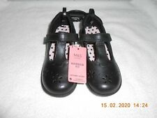 3 4   RRP £32 M/&S Girls Black Coated Leather Lace Up School Shoes UK1