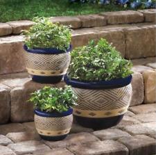 Ceramic Pot Planter Set 3-Piece Home Decor Indoor Outdoor Cobalt Flower Garden