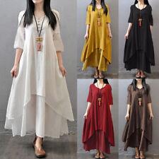 Summer Women Beach Dress Holiday Multi-layer Linen Maxi Kaftan Baggy Swing Dress