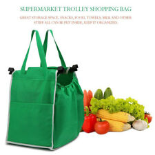 XL Large Foldable Tote Bag Grocery Shopping Grab Bag Fabric Carrier Clip-To-Cart
