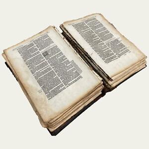 1595 FOLIO Bishops' BIBLE Old Testament LEAF - WE PICK - Good Condition