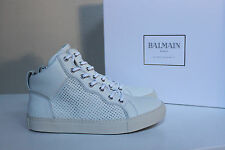 New sz 9 US / 42 Eur BALMAIN White Leather Ankle High Top Sneaker MEN Shoe