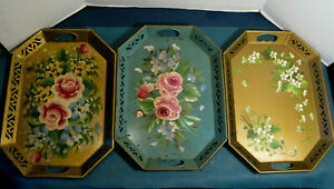 Antique Pilgrim Art Hand Painted Flowers Metal Lattice Edged Trays Lot of 3