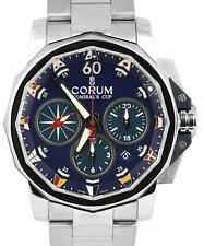 Corum Admiral's Cup Challenge 44mm Blue Stainless Chronograph 01.0007 Watch