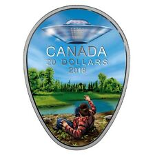2018 CANADA $20 UFO Glow-in-the-Dark FALCON LAKE INCIDENT 1oz Proof Silver Coin