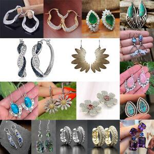 Fashion 925 Silver Zircon Crystal Earrings Stud Women Drop Dangle Jewelry Gifts