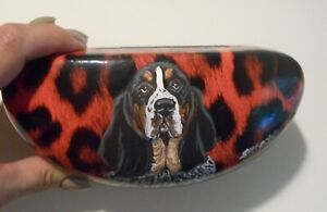 Basset Hound dog Art Eyeglass Glasses Sunglasses Case Hand Painted