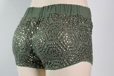 GUESS NEW WOMEN'S  SHORTS FOILED HIGH-WAISTED SiZE XS GREEN WHIT STUD GOLD