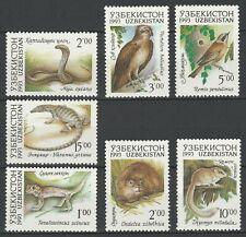 Uzbekistan 1993 Fauna Animals, Reptiles, Birds 7 MNH stamps