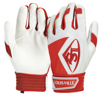 NEW Men's Originals Louisville Slugger Adult Leather BATTING Glove White Red