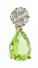 diamonds peridot pendants 9Carat 9ct yellow gold 0.09ct round cluster pear shape