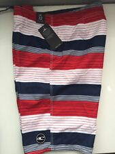 O'NEILL MENS RED, WHITE AND BLUE SWIMTRUNKS BOARD SHORTS SIZE 32