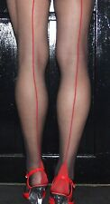 Black/Red 15 Denier Seamed Tights. RED Contrast Seam & Cuban Heel High Quality