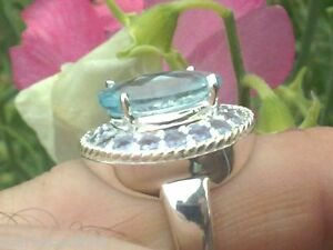 Silver Ring With 8.60ctw Tanzanites and Topaz