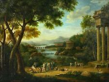 """Beautiful Oil painting ancient landscape - angels together with Castle 36"""""""
