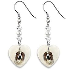 Great Pyrenees Dog 925 Sterling Silver Heart Mother Of Pearl Dangle Earrings EP9