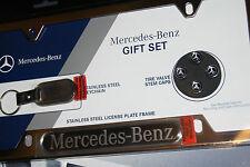 Mercedes Benz License Plate Frame key Ring Tire Valve Caps Gift Set Genuine