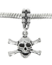 STERLING SILVER SKULL AND CROSSBONES DANGLE EUROPEAN BEAD CHARM